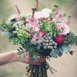 Wedding Bouquet Close Up Beautiful Tender Wedding Bouquet of Mixed