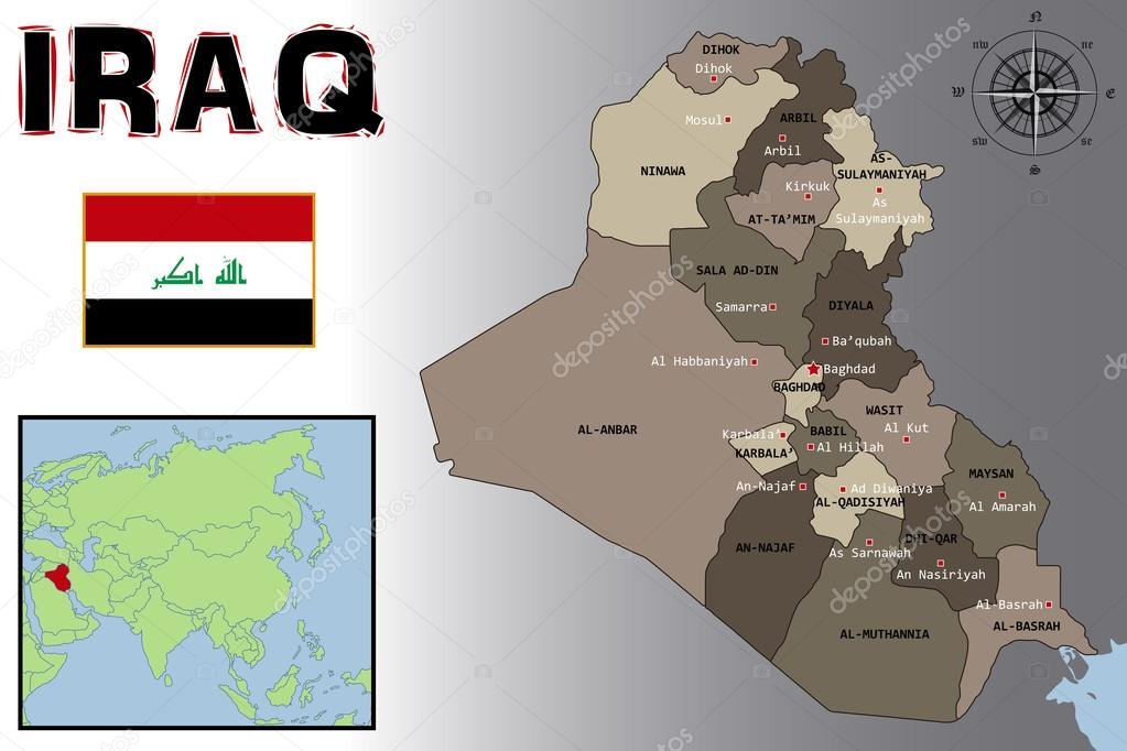 Map  Flag and Location of Iraq     Stock Vector      pablofdezr1984  74759411 Map  Flag and Location of Iraq     Stock Vector