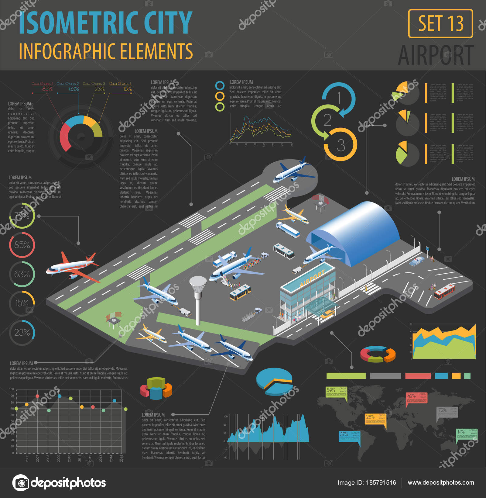 3d isometric airport and city map constructor elements isolated     3d isometric airport and city map constructor elements isolated on white   Build your own infographic collection  Vector illustration     Vector by  A7880S