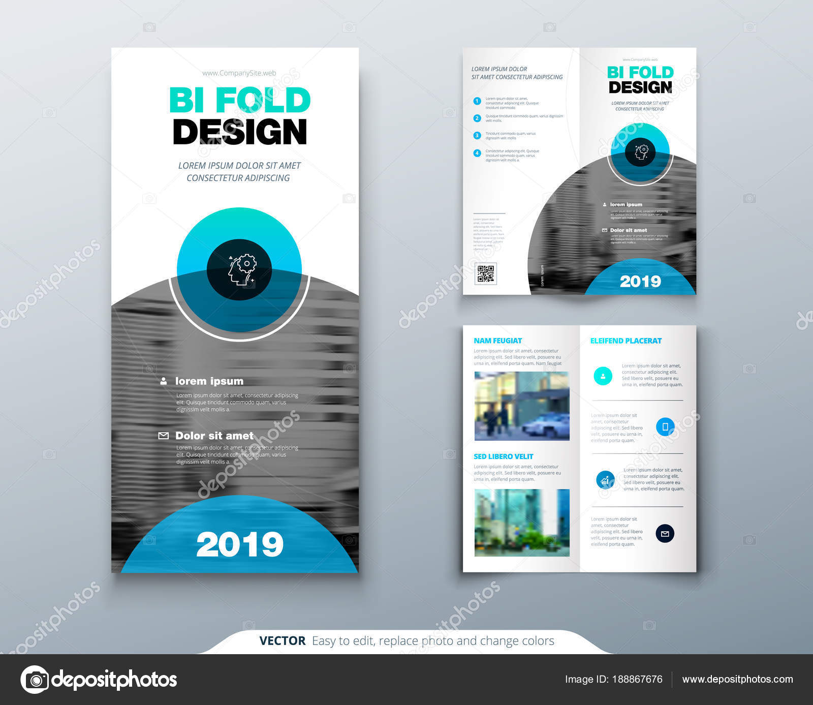 Tri fold brochure design  Business template for tri fold flyer with     Tri fold brochure design  Business template for tri fold flyer with modern  circle photo and