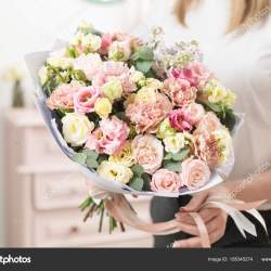 Bouquet of Delicate Pastel Color Beautiful Luxury Bunch of Mixed