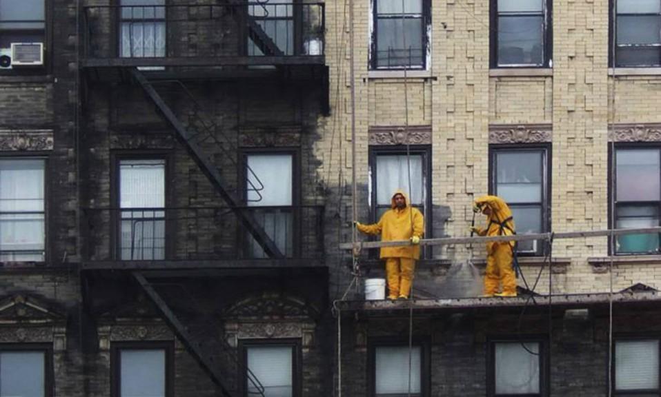 Limpieza fachada edificio de nueva York