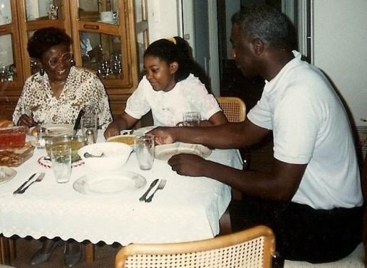 me and gmom at nana's table