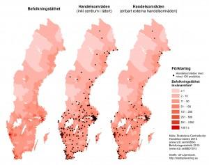 Befolkningstäthet, handelsområden och externa handelsområden 2010. Källa: Statistiska centralbyrån. Grafik: Ulf Liljankoski. 2015.