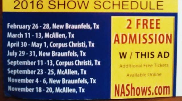 2016 Show Schedule