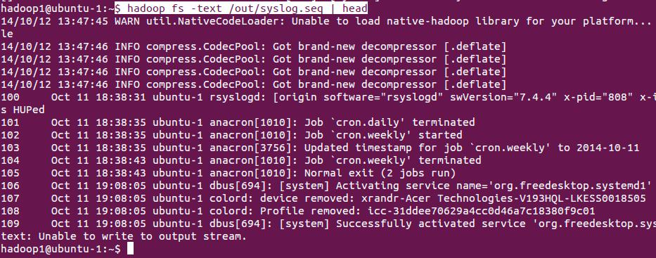 hadoop fs text command