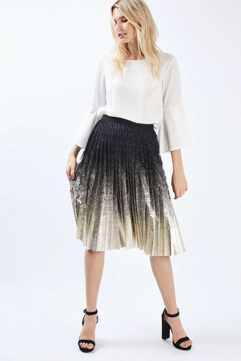 foil lace midi pleated skirt