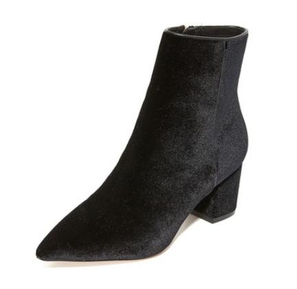 Steven black velvet ankle boots