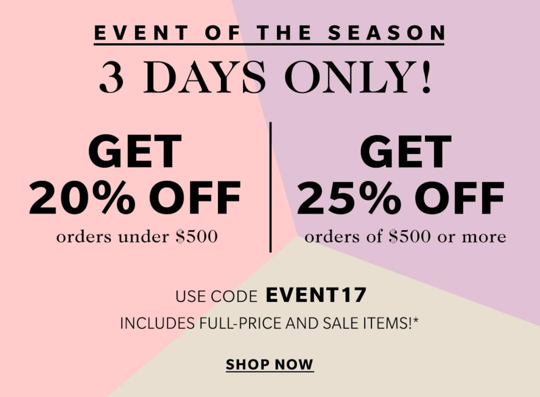shopbop big event sale 2017
