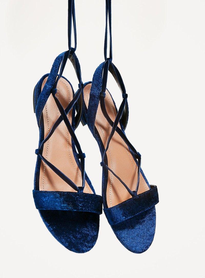 shoes from zara flat velvet sandals