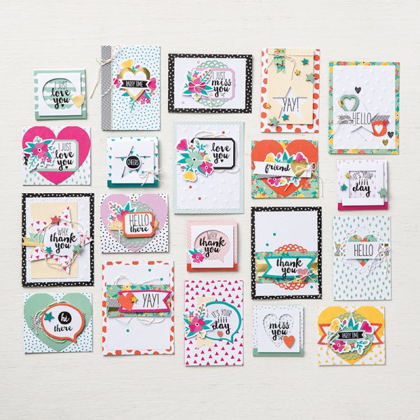 Oh Happy Day Card kit includes everything you need to make 20+ handmade cards, precut, with embellishments. Stamp with the ink and stamps included and give them away to those special people in your life. Learn more at StampinFool.com