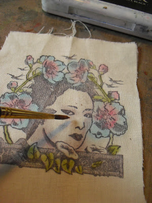 Technique: Stamping and Painting on Fabric