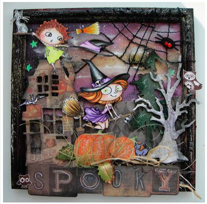 inspiration: framed stamped halloween art