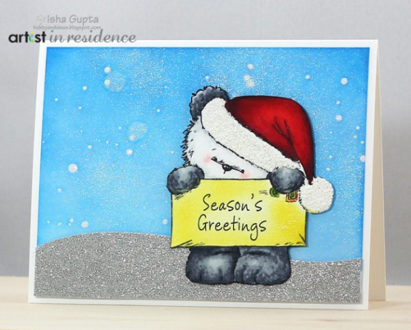 Project: Santa Panda Holiday Card with Snowy Background Technique