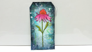 Project: Mixed Media Stamped Flower Tag