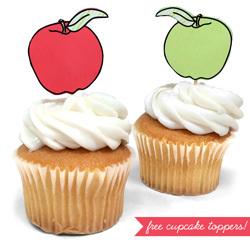 Freebie: Apple Cupcake Toppers