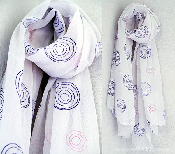 Tip: Stamped Scarf with Rubber Bands