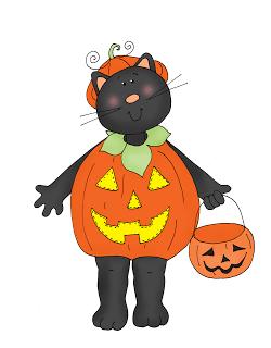 Freebie: Cat in a Pumpkin Suit Digi Stamp