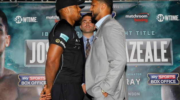 ANTHONY JOSHUA V DOMINIC BREAZEALE PRESS CONFERENCE SYON PARK.LONDON PIC;LAWRENCE LUSTIG ANTHONY JOSHUA  AND OPPONENT DOMINIC BREAZEALE COME FACE TO FACE IN PREPERATION FOR THEIR FIGHT ON EDDIE HEARNS PROMOTION ON JUNE 24TH