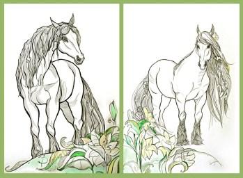 Диптих, лошади