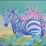 Радостные зебры<br />30х40 холст, масло 2011г.