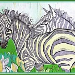 Зебры<br />35х45, бумага, смешанная техника, 2007г.