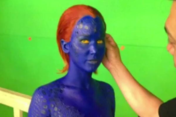 Jennifer Lawrence on 'X-Men' set