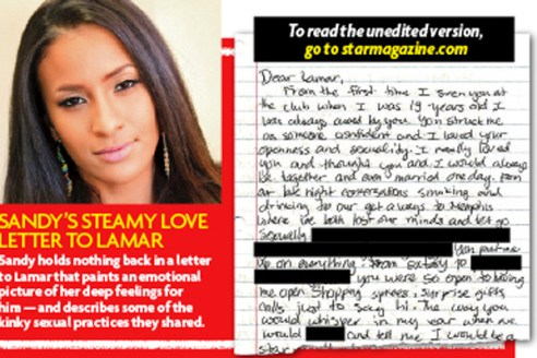 Sandy Schultz letter to Lamar Odom