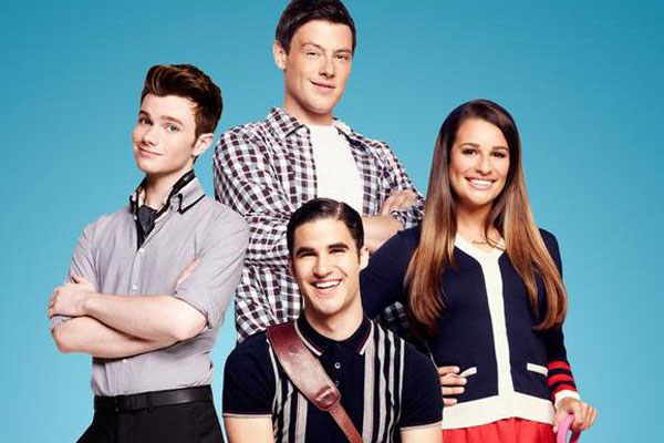 Chris Colfer, Darren Criss, Cory Monteith & Lea Michele