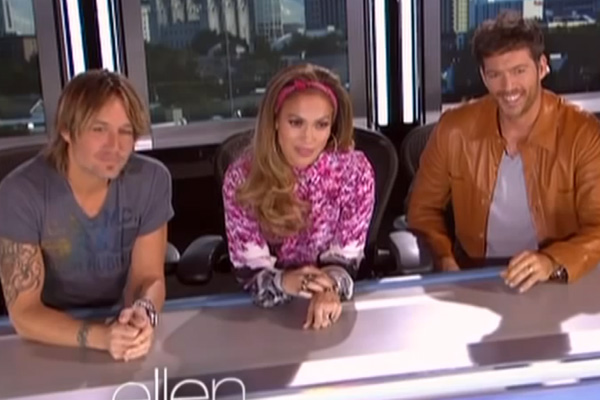 Keith Urban, Jennifer Lopez & Harry Connick Jr.
