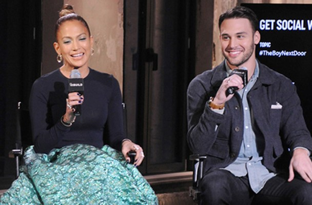Jennifer Lopez and Ryan Guzman lead a discussion at the AOL Build Speaker Series in NYC