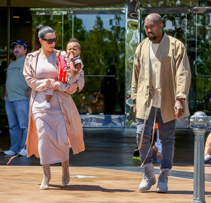 Kim Kardashian and Kanye West take their baby North West to the movies in Calabasas, CA