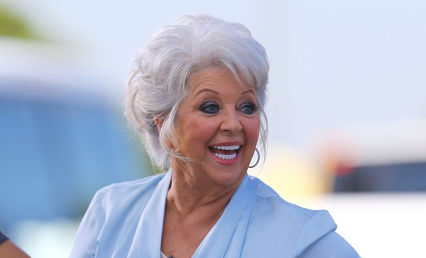 Paula Deen is seen at 'Extra TV' for an interview with Mario Lopez at Universal Studios Hollywood.  Pictured: Paula Deen Ref: SPL854523  011014   Picture by: VIPix / Splash News  Splash News and Pictures Los Angeles:	310-821-2666 New York:	212-619-2666 London:	870-934-2666 photodesk@splashnews.com