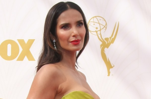 67th Annual Primetime Emmy Awards - Arrivals at the Microsoft Theater  in Los Angeles   Pictured: Padma Lakshmi Ref: SPL1132824  210915   Picture by: @Parisa / Splash News  Splash News and Pictures Los Angeles:310-821-2666 New York:212-619-2666 London:870-934-2666 photodesk@splashnews.com