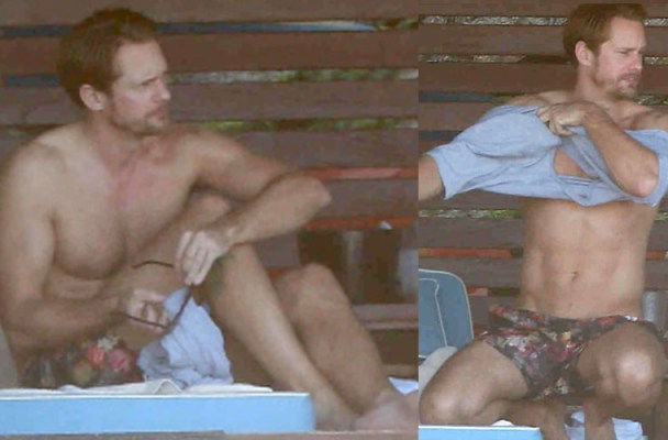 Exclusive... 51907822 'True Blood' actor Alexander Skarsgard lays out on the beach in Mexico on November 13, 2015.  The actor has recently wrapped up filming 'Tarzan', which is set to be released sometime in 2016. FameFlynet, Inc - Beverly Hills, CA, USA - +1 (818) 307-4813