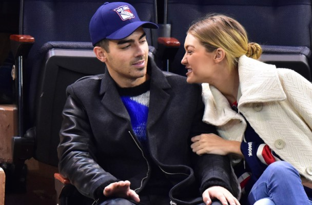 Celebrities attend San Jose Sharks vs New York Rangers game at Madison Square Garden on October 19, 2015 in New York City.  Pictured: Joe Jonas and Gigi Hadid Ref: SPL1154926  191015   Picture by: JD Images / Splash News  Splash News and Pictures Los Angeles:	310-821-2666 New York:	212-619-2666 London:	870-934-2666 photodesk@splashnews.com