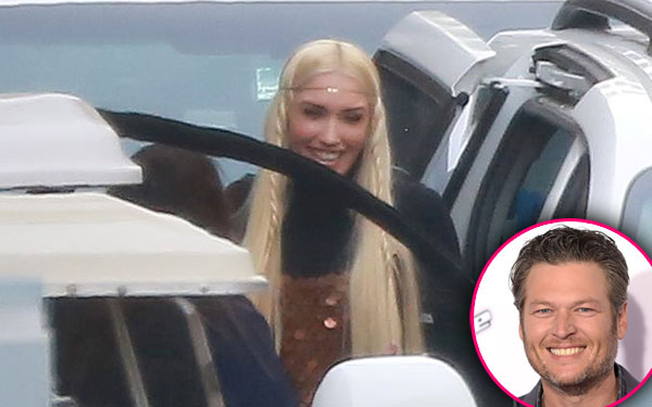 gwen stefani blake shelton carpooling new hair photos