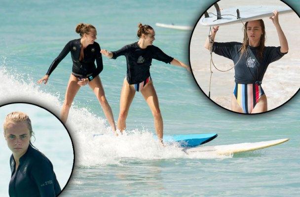 Cara Delevingne Bikini Supermodel Suki Waterhouse Surfing
