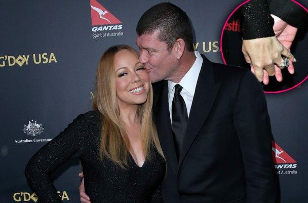 Mariah Carey James Packer Engaged Ring Red Carpet