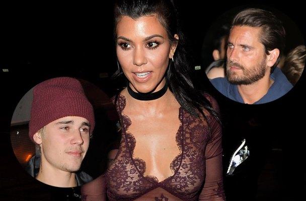 kourtney kardashian disses scott disick hangs out justin bieber