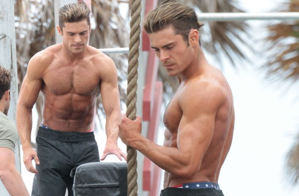 zach efron shirtles muscles baywatch pics