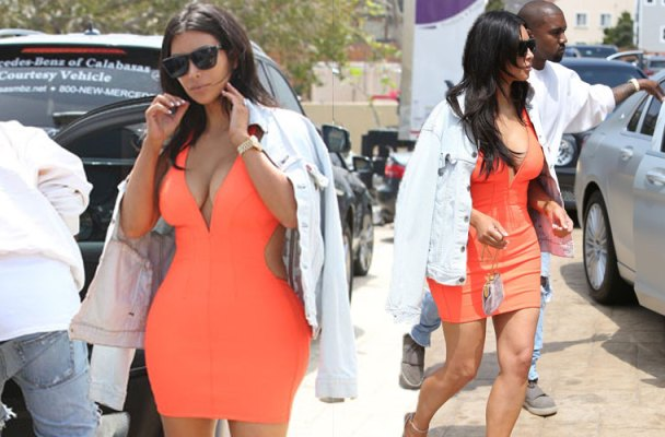 kim kardashian orange dress date night kanye west