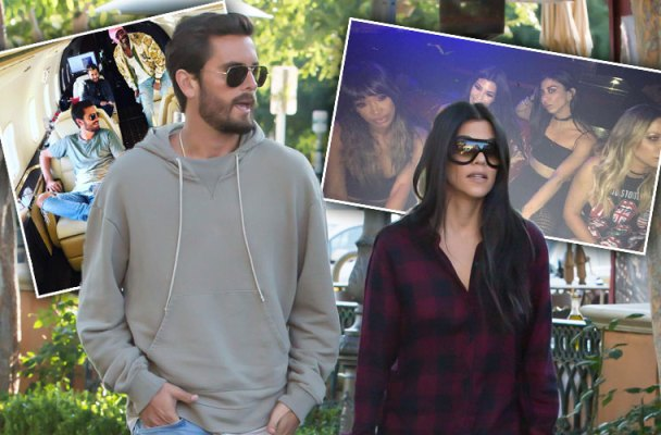 scott disick kourtney kardashian split reunite partying binger pics