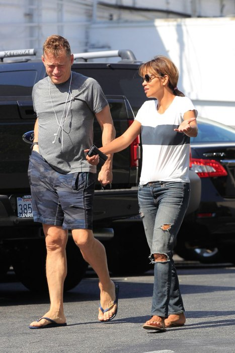 *EXCLUSIVE* Halle Berry dresses down for breakfast with a friend