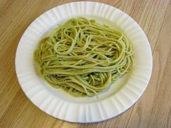 Vegetarian green avocado pasta