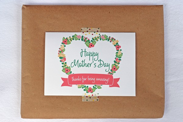 Kraft paper, printed card, washi tape