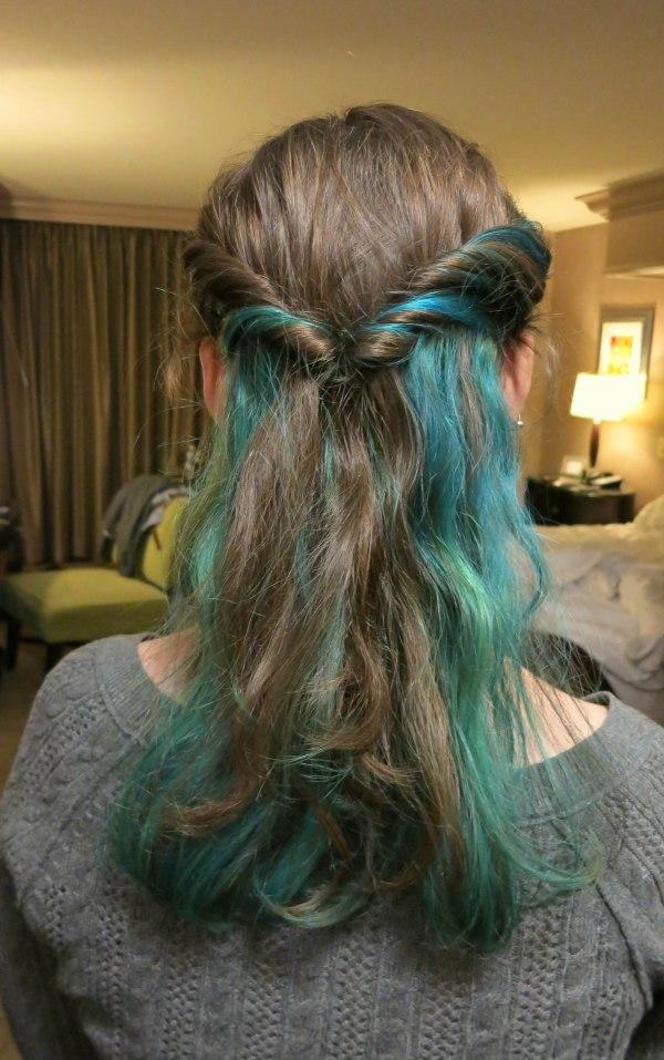 Hair with blue streaks