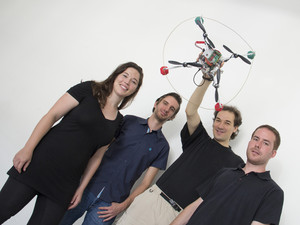 This is the Quadcopter-Team: Annette Mossel, Christoph Kaltenriner, Hannes Kaufmann, Michael Leichtfried (l.t.r.). Credit Vienna University of Technology