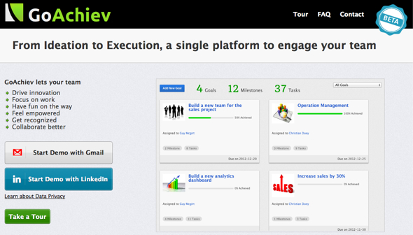 GoAchiev - startup featured on StartUpLift for startup feedback and website feedback