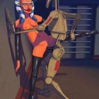 Ahsoka Tano could use some jedi tricks and escape long time ago... but she is kinda likes being fucked by droid!